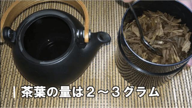 ①茶葉を2g~3g入れる